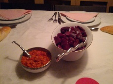 Beet salad and a side dish of Balkan veggie spread